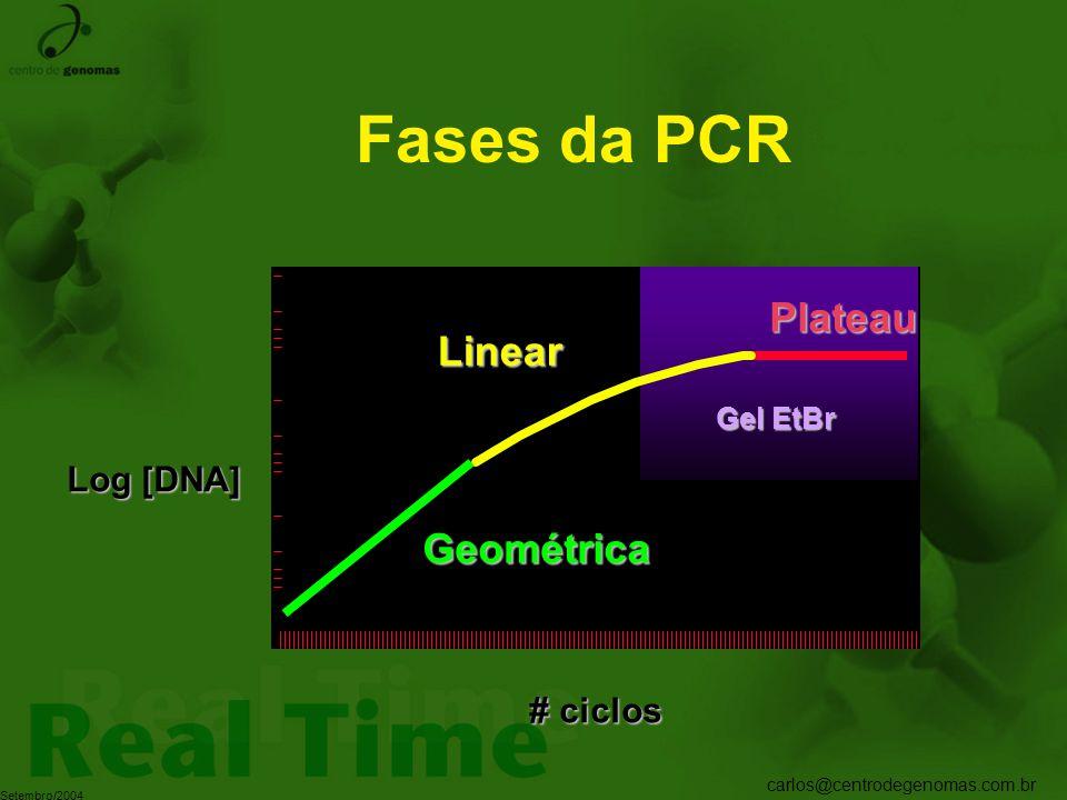 carlos@centrodegenomas.com.br Setembro/2004 Fases da PCR Log [DNA] # ciclos Geométrica Plateau Linear Gel EtBr
