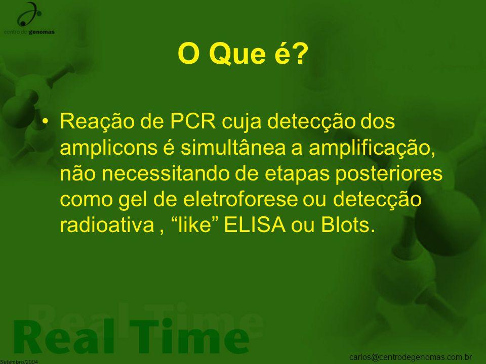 carlos@centrodegenomas.com.br Setembro/2004 O Que é? Reação de PCR cuja detecção dos amplicons é simultânea a amplificação, não necessitando de etapas