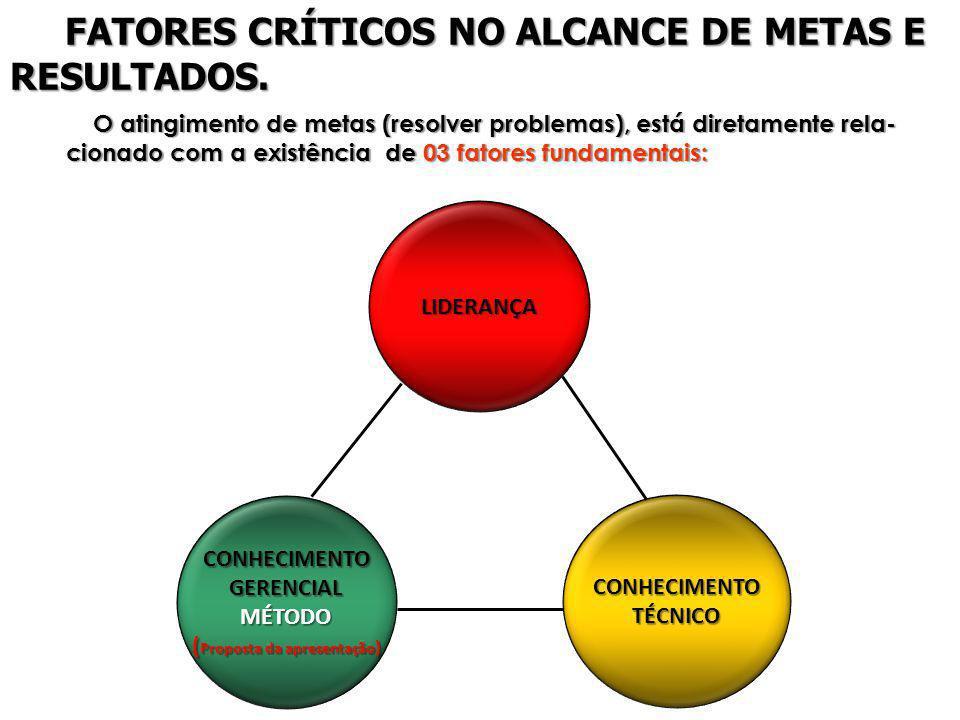 LIDERANÇA CONHECIMENTOTÉCNICO CONHECIMENTOGERENCIALMÉTODO ( Proposta da apresentação ) O atingimento de metas (resolver problemas), está diretamente r