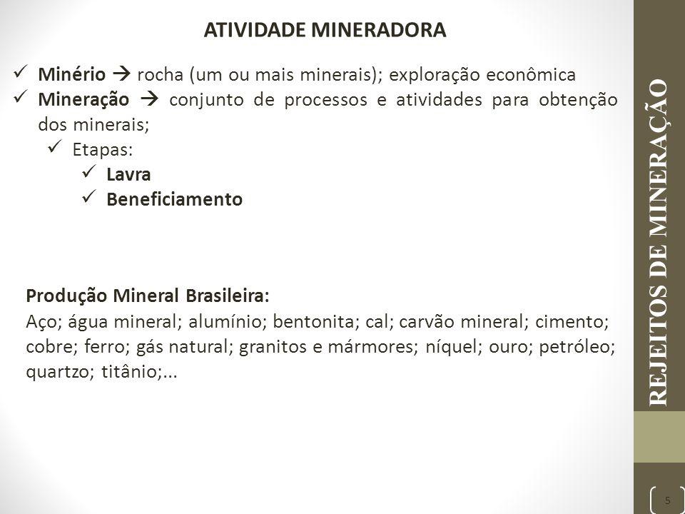 REJEITOS DE MINERAÇÃO 5 Minério  rocha (um ou mais minerais); exploração econômica Mineração  conjunto de processos e atividades para obtenção dos m