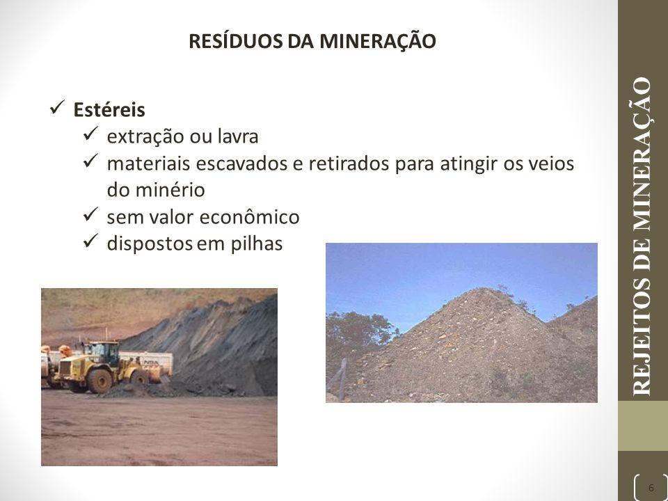 REJEITOS DE MINERAÇÃO 6 Estéreis extração ou lavra materiais escavados e retirados para atingir os veios do minério sem valor econômico dispostos em p