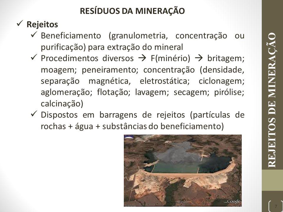 REJEITOS DE MINERAÇÃO 7 Rejeitos Beneficiamento (granulometria, concentração ou purificação) para extração do mineral Procedimentos diversos  F(minér