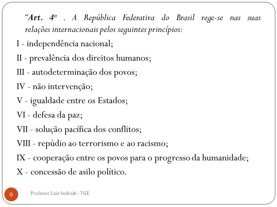 """Professor Luiz Andrade - TGE 9 """"Art. 4 o. A República Federativa do Brasil rege-se nas suas relações internacionais pelos seguintes princípios: I - in"""
