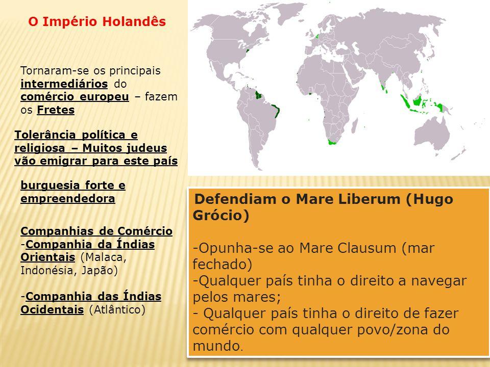 Defendiam o Mare Liberum (Hugo Grócio) -Opunha-se ao Mare Clausum (mar fechado) -Qualquer país tinha o direito a navegar pelos mares; - Qualquer país