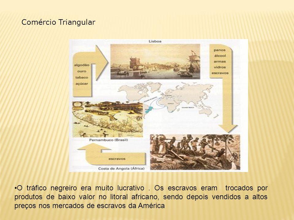 Comércio Triangular O tráfico negreiro era muito lucrativo. Os escravos eram trocados por produtos de baixo valor no litoral africano, sendo depois ve
