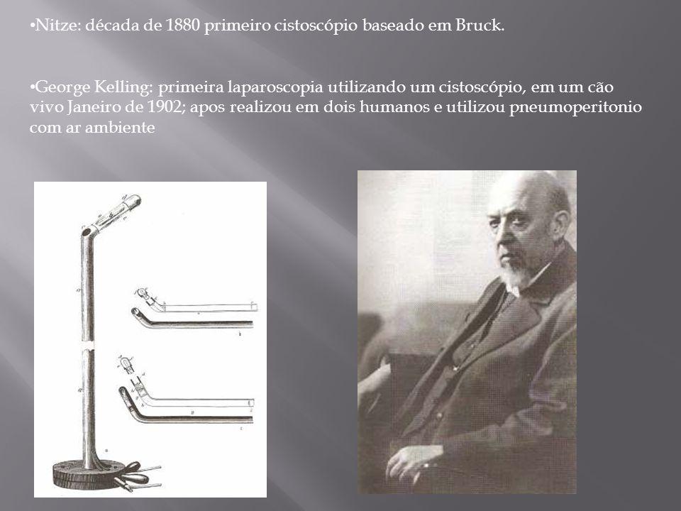 Nitze: década de 1880 primeiro cistoscópio baseado em Bruck. George Kelling: primeira laparoscopia utilizando um cistoscópio, em um cão vivo Janeiro d