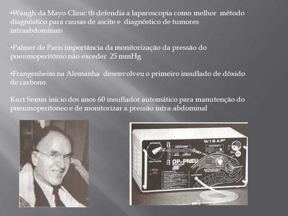 Waugh da Mayo Clinic tb defendia a laparoscopia como melhor método diagnóstico para causas de ascite e diagnóstico de tumores intraabdominais Palmer d