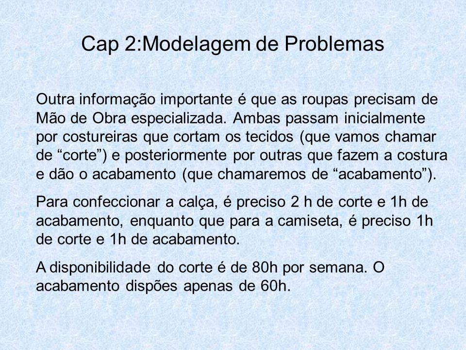 Cap 2:Modelagem de Problemas Outra informação importante é que as roupas precisam de Mão de Obra especializada. Ambas passam inicialmente por costurei