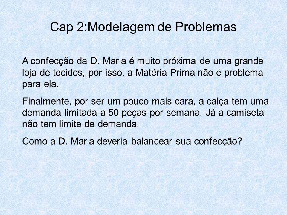 Cap 2:Modelagem de Problemas A confecção da D. Maria é muito próxima de uma grande loja de tecidos, por isso, a Matéria Prima não é problema para ela.