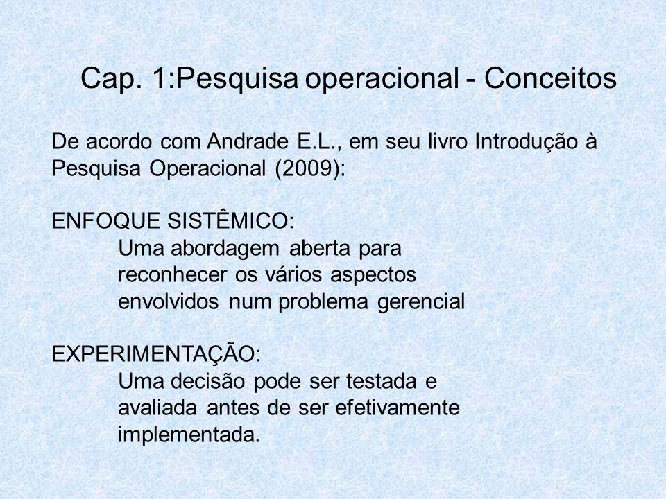 De acordo com Andrade E.L., em seu livro Introdução à Pesquisa Operacional (2009): ENFOQUE SISTÊMICO: Uma abordagem aberta para reconhecer os vários a