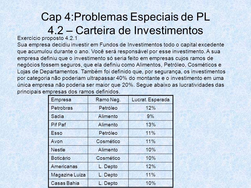 Cap 4:Problemas Especiais de PL 4.2 – Carteira de Investimentos Exercício proposto 4.2.1 Sua empresa decidiu investir em Fundos de Investimentos todo