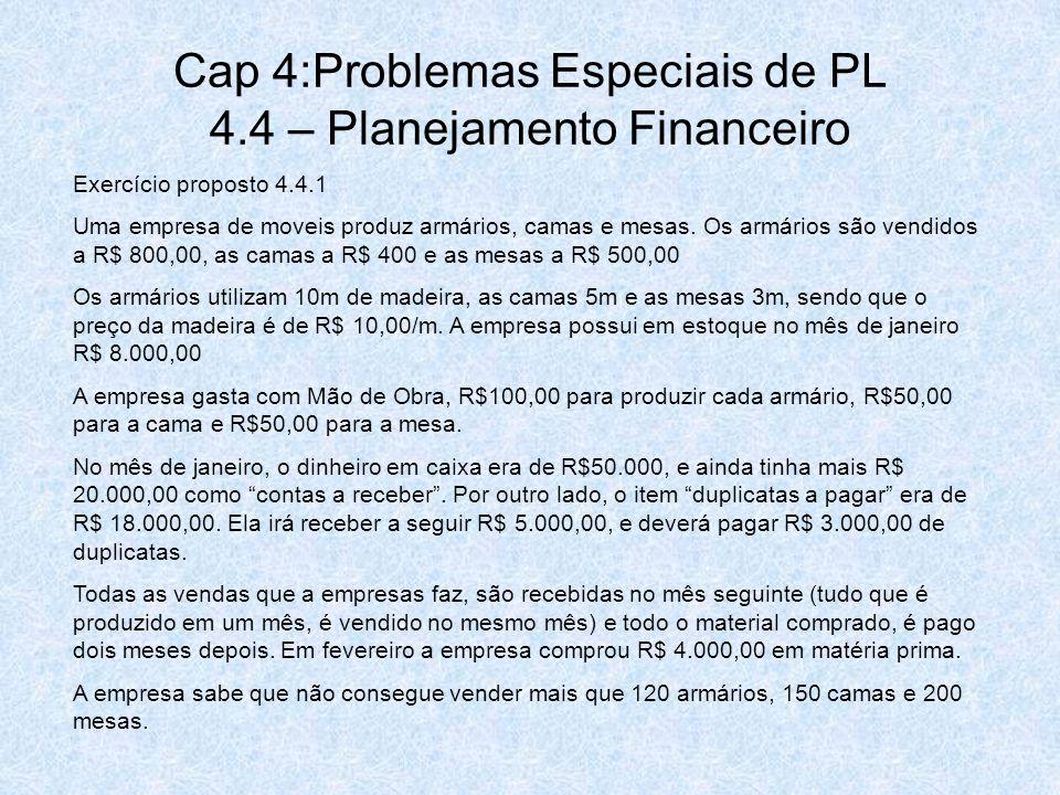 Cap 4:Problemas Especiais de PL 4.4 – Planejamento Financeiro Exercício proposto 4.4.1 Uma empresa de moveis produz armários, camas e mesas. Os armári
