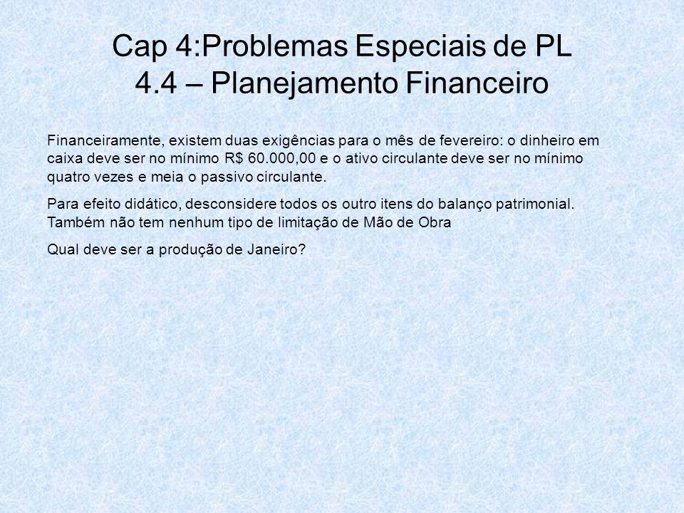Cap 4:Problemas Especiais de PL 4.4 – Planejamento Financeiro Financeiramente, existem duas exigências para o mês de fevereiro: o dinheiro em caixa de