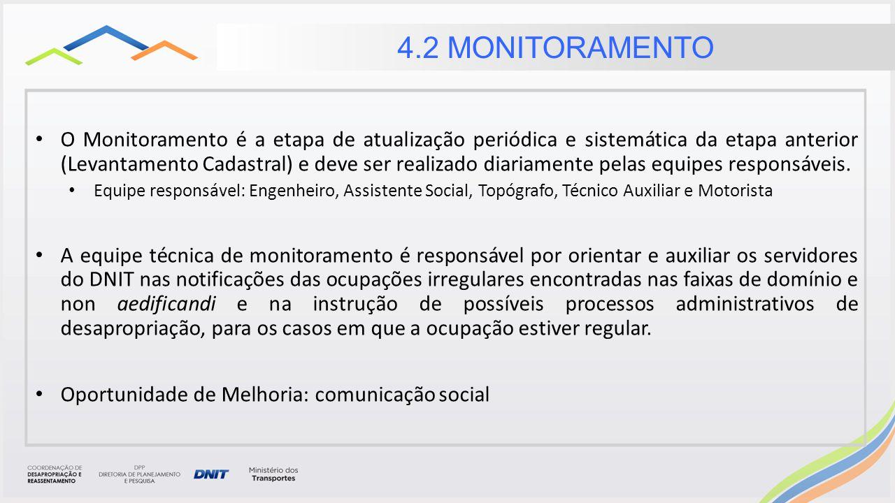 O Monitoramento é a etapa de atualização periódica e sistemática da etapa anterior (Levantamento Cadastral) e deve ser realizado diariamente pelas equipes responsáveis.