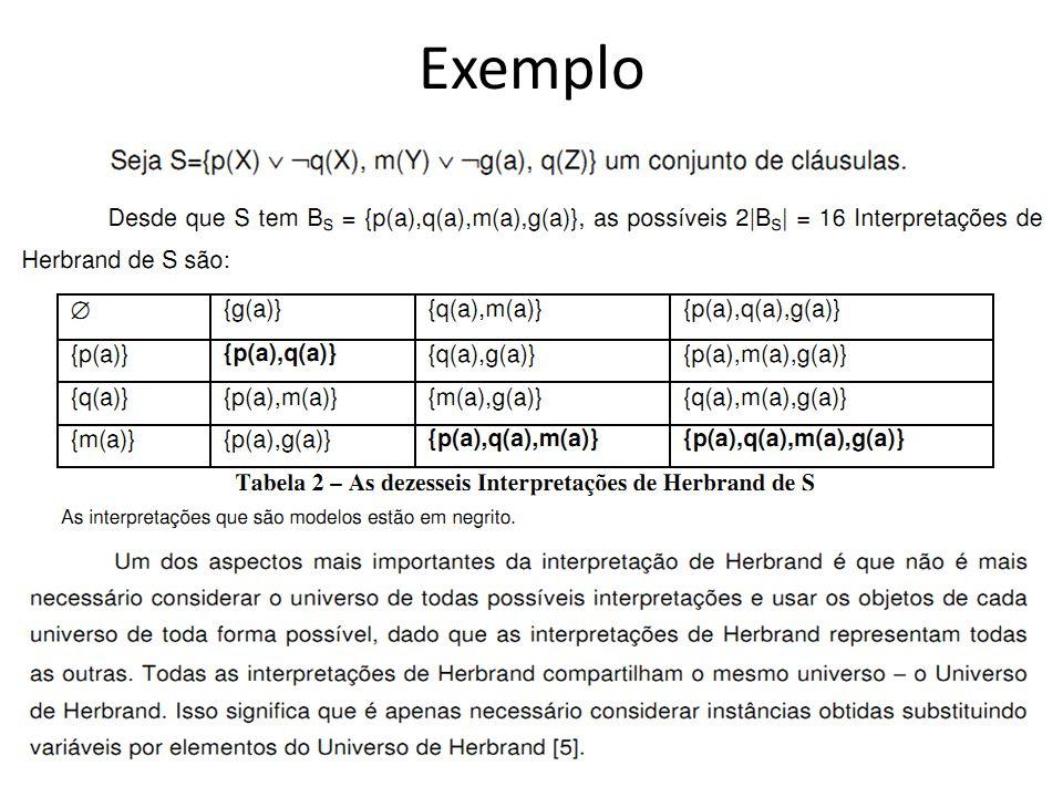  Para testar se um conjunto S de cláusulas é insatisfatível, precisa-se considerar somente interpretações sobre o universo Herbrand de S.