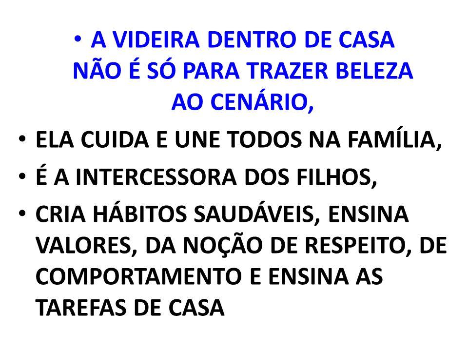 A VIDEIRA DENTRO DE CASA NÃO É SÓ PARA TRAZER BELEZA AO CENÁRIO, ELA CUIDA E UNE TODOS NA FAMÍLIA, É A INTERCESSORA DOS FILHOS, CRIA HÁBITOS SAUDÁVEIS, ENSINA VALORES, DA NOÇÃO DE RESPEITO, DE COMPORTAMENTO E ENSINA AS TAREFAS DE CASA