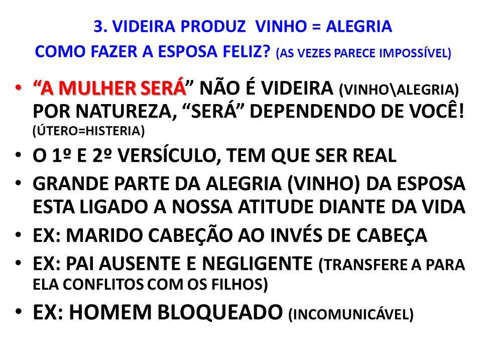 """3. VIDEIRA PRODUZ VINHO = ALEGRIA COMO FAZER A ESPOSA FELIZ? (AS VEZES PARECE IMPOSSÍVEL) """"A MULHER SERÁ """"A MULHER SERÁ"""" NÃO É VIDEIRA (VINHO\ALEGRIA)"""