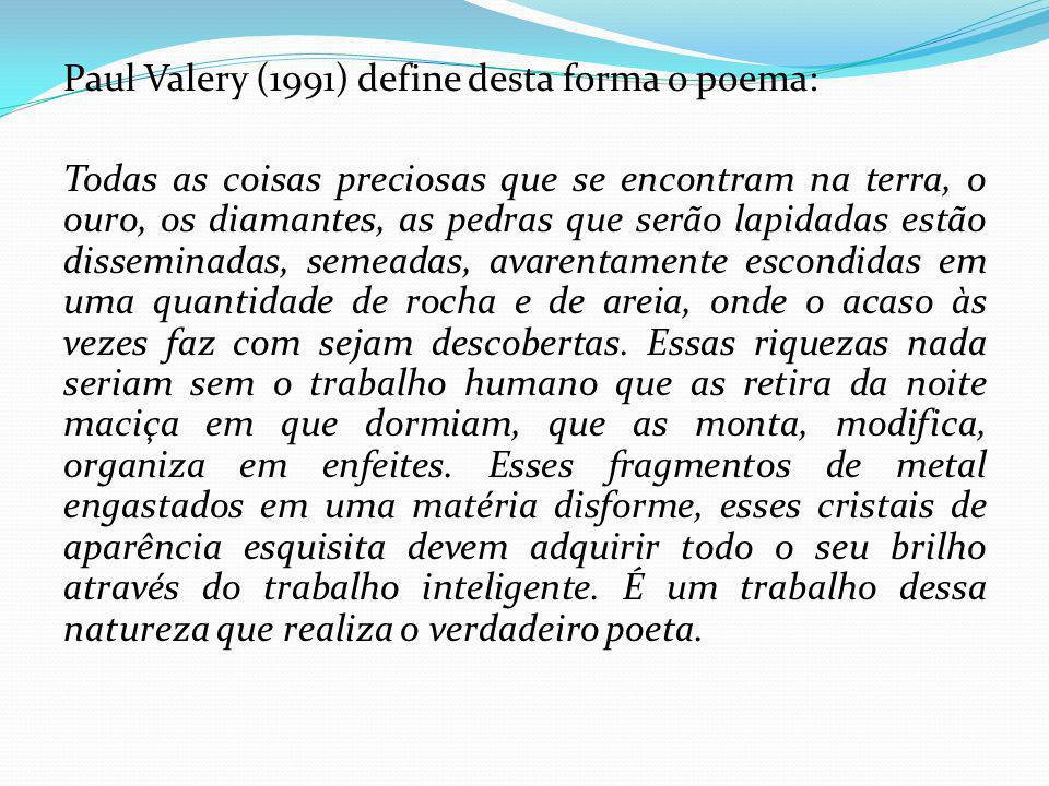 Paul Valery (1991) define desta forma o poema: Todas as coisas preciosas que se encontram na terra, o ouro, os diamantes, as pedras que serão lapidada