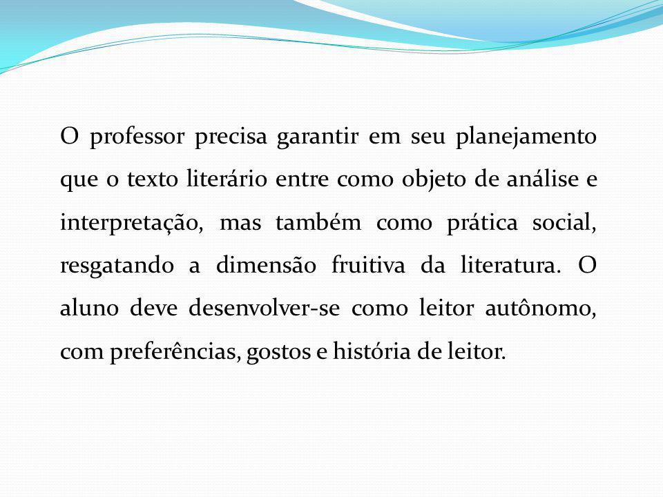 O professor precisa garantir em seu planejamento que o texto literário entre como objeto de análise e interpretação, mas também como prática social, r