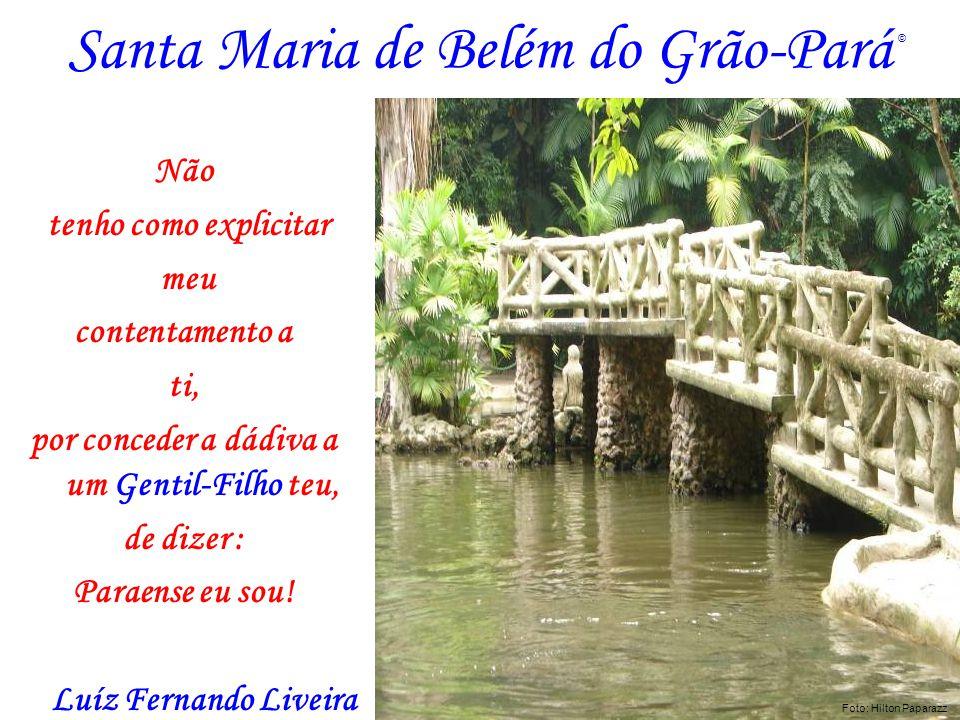 Santa Maria de Belém do Grão-Pará Não tenho como explicitar meu contentamento a ti, por conceder a dádiva a um Gentil-Filho teu, de dizer : Paraense e