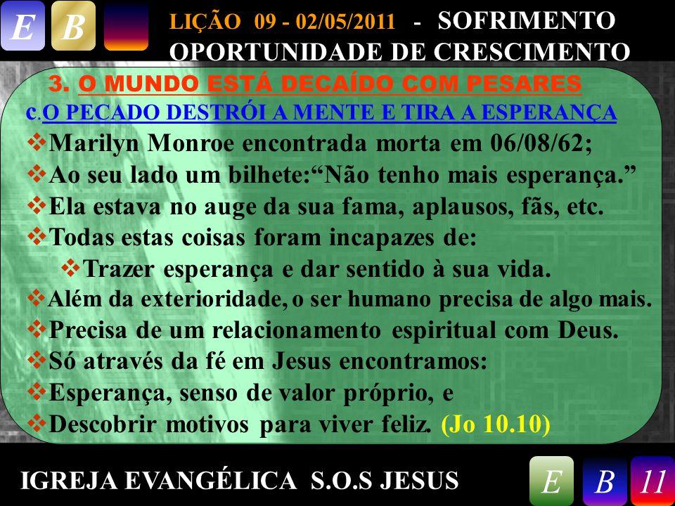 9/26/201411 LIÇÃO 09 - 02/05/2011 - SOFRIMENTO OPORTUNIDADE DE CRESCIMENTO EB 11EB 3.