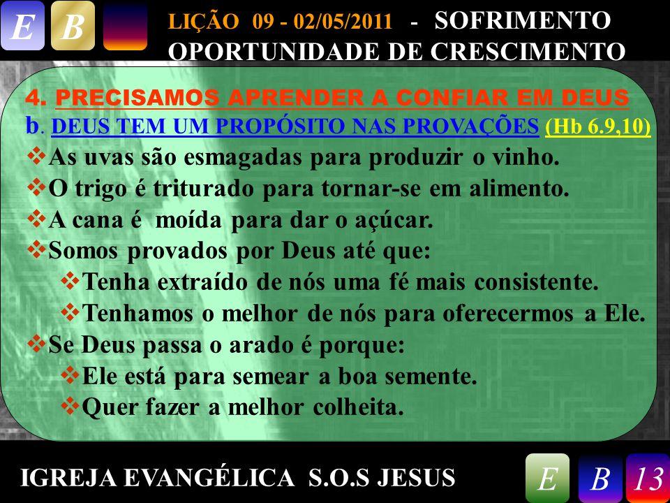 9/26/201413 LIÇÃO 09 - 02/05/2011 - SOFRIMENTO OPORTUNIDADE DE CRESCIMENTO EB 13EB 4.