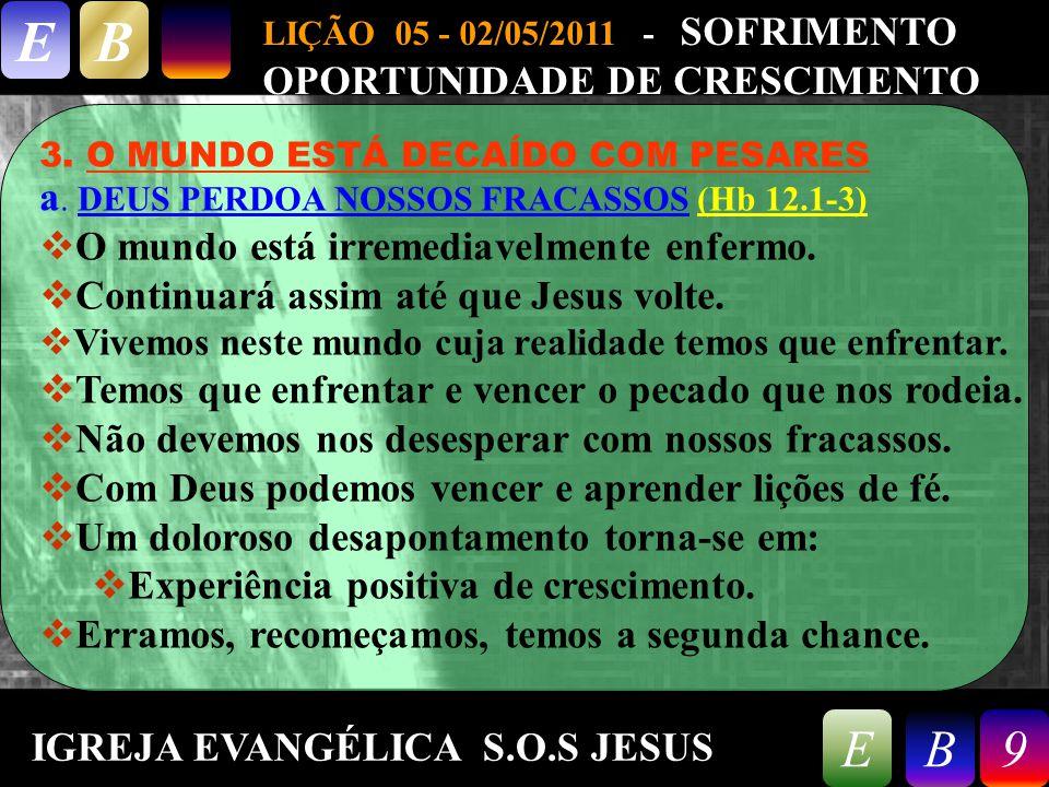 9/26/20149 LIÇÃO 05 - 02/05/2011 - SOFRIMENTO OPORTUNIDADE DE CRESCIMENTO EB 9EB 3. O MUNDO ESTÁ DECAÍDO COM PESARES a. DEUS PERDOA NOSSOS FRACASSOS (