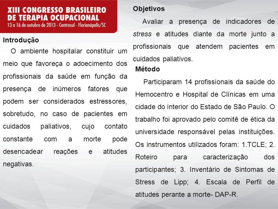 Introdução O ambiente hospitalar constituir um meio que favoreça o adoecimento dos profissionais da saúde em função da presença de inúmeros fatores qu