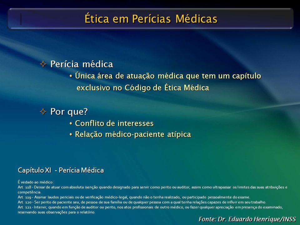 Defesa Judicial do INSS – O Papel do Perito Médico Ética em Perícias Médicas  Perícia médica  Única área de atuação médica que tem um capítulo exclu