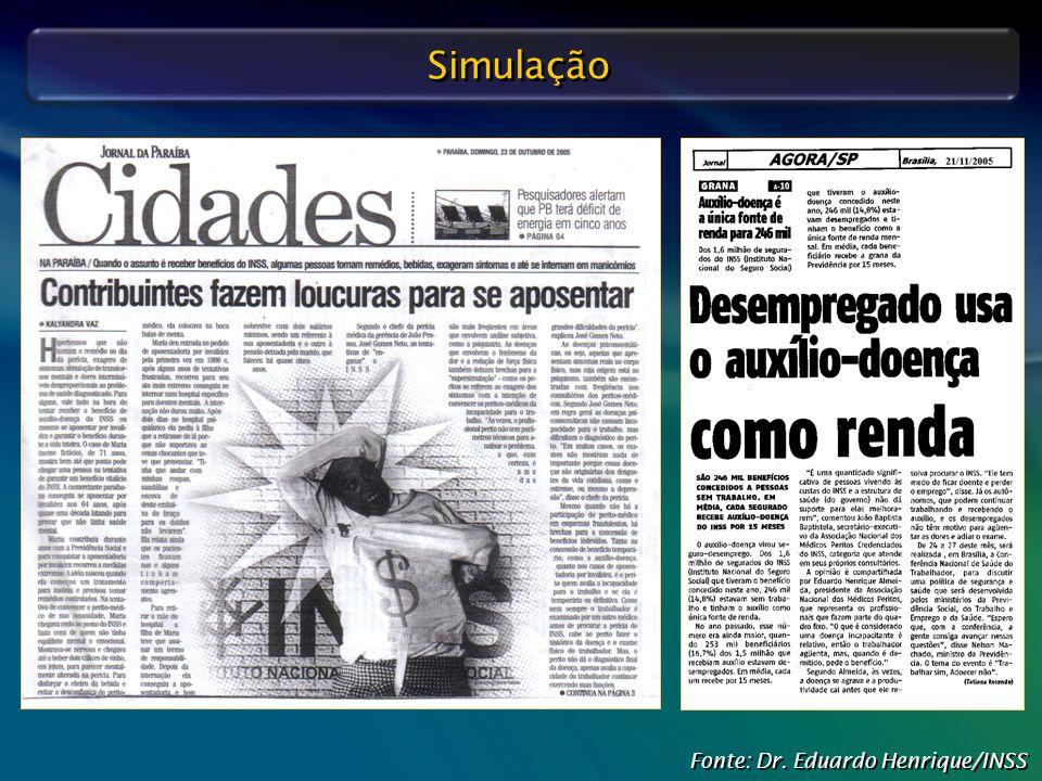 Defesa Judicial do INSS – O Papel do Perito Médico Fonte: Dr. Eduardo Henrique/INSS Simulação
