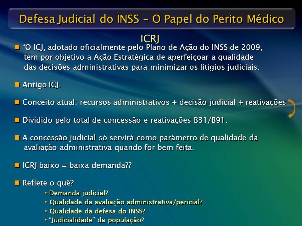"""Defesa Judicial do INSS – O Papel do Perito Médico ICRJ """"O ICJ, adotado oficialmente pelo Plano de Ação do INSS de 2009, tem por objetivo a Ação Estra"""