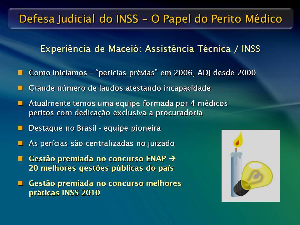 """Defesa Judicial do INSS – O Papel do Perito Médico Como iniciamos – """"perícias prévias"""" em 2006, ADJ desde 2000 Grande número de laudos atestando incap"""