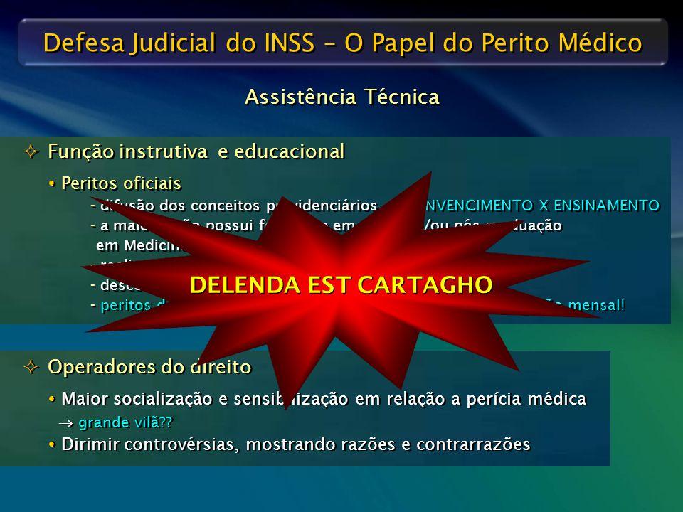 Defesa Judicial do INSS – O Papel do Perito Médico  Função instrutiva e educacional  Peritos oficiais - difusão dos conceitos previdenciários  CONV
