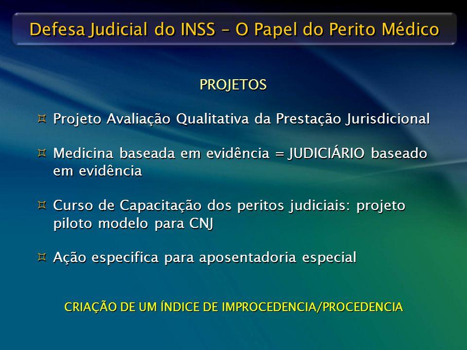Defesa Judicial do INSS – O Papel do Perito Médico PROJETOS   Projeto Avaliação Qualitativa da Prestação Jurisdicional   Medicina baseada em evidê