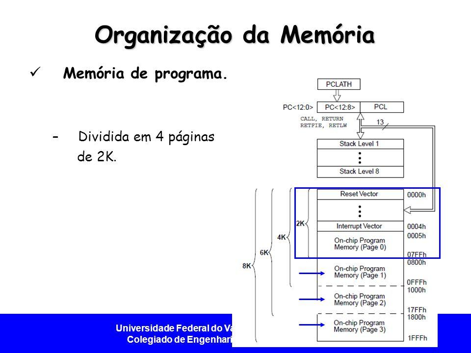 Universidade Federal do Vale do São Francisco - UNIVASF Colegiado de Engenharia da Computação – CECOMP Organização da Memória Memória de programa. –Di