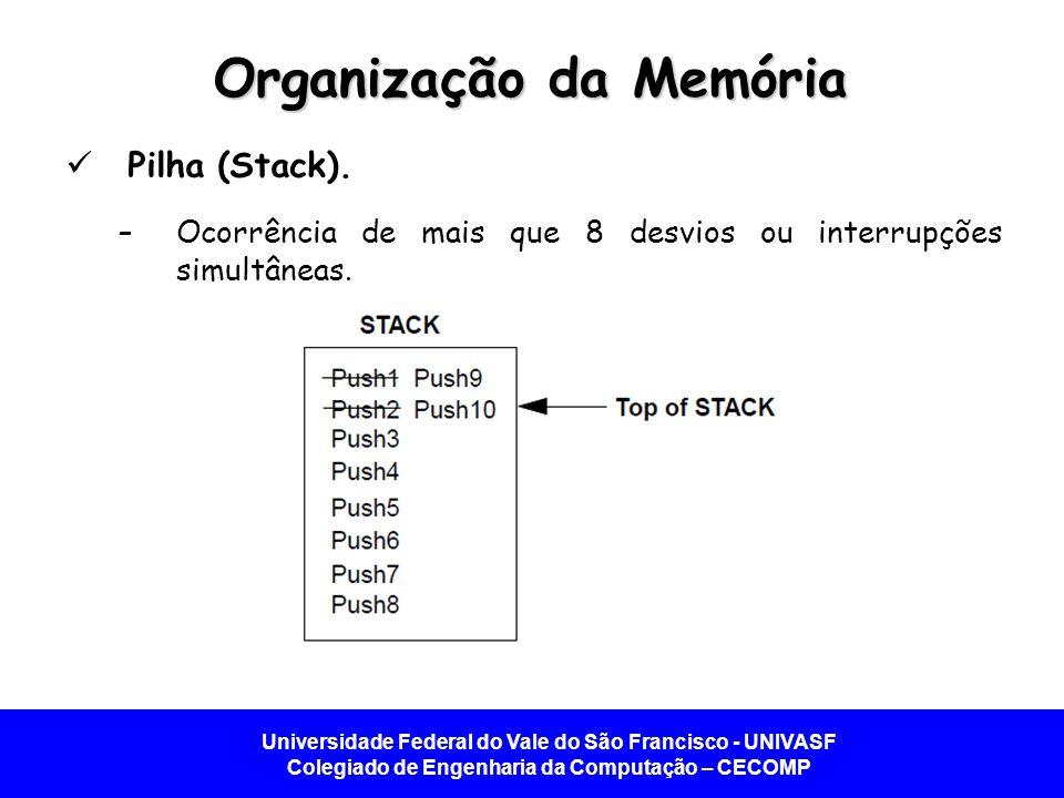 Universidade Federal do Vale do São Francisco - UNIVASF Colegiado de Engenharia da Computação – CECOMP Organização da Memória Pilha (Stack). –Ocorrênc