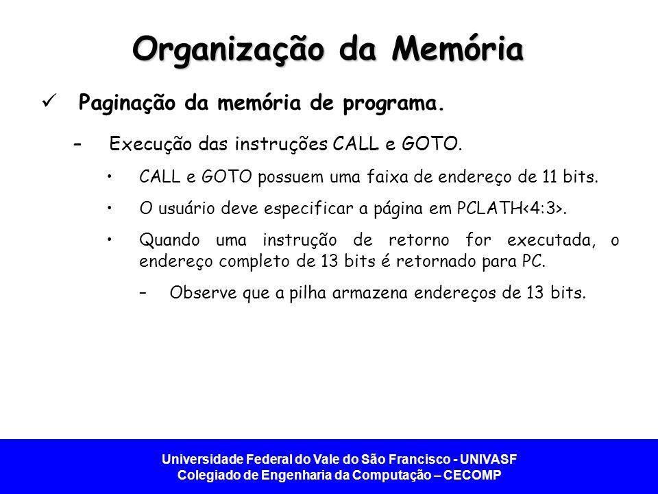 Universidade Federal do Vale do São Francisco - UNIVASF Colegiado de Engenharia da Computação – CECOMP Organização da Memória Paginação da memória de