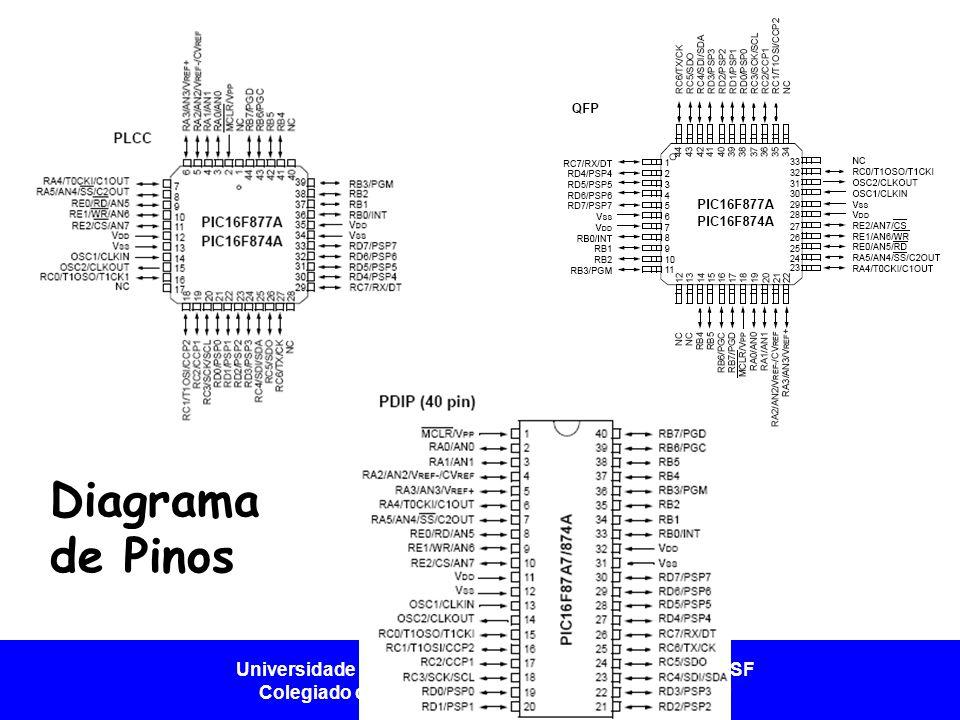 Universidade Federal do Vale do São Francisco - UNIVASF Colegiado de Engenharia da Computação – CECOMP Configuração dos Pinos - DIP Pino 1 - /MCLR - /VppEntrada do reset/Entrada da tensão de programação Pino 2 - RA0/AN0E/S digital e entrada analógica.