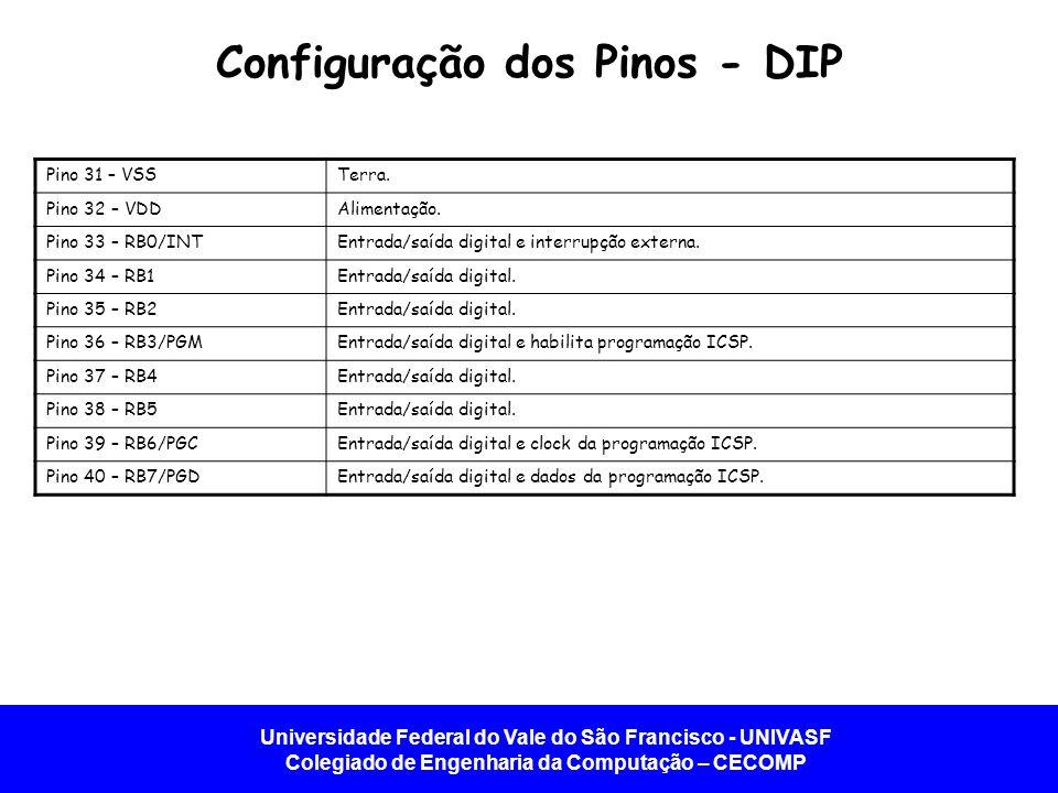 Universidade Federal do Vale do São Francisco - UNIVASF Colegiado de Engenharia da Computação – CECOMP Configuração dos Pinos - DIP Pino 31 – VSSTerra