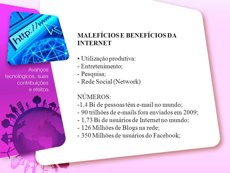 MALEFÍCIOS E BENEFÍCIOS DA INTERNET Utilização produtiva: - Entretenimento; - Pesquisa; - Rede Social (Network) NÚMEROS: -1,4 Bi de pessoas têm e-mail