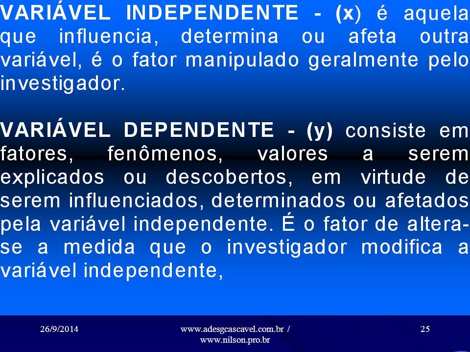 26/9/2014www.adesgcascavel.com.br / www.nilson.pro.br 24