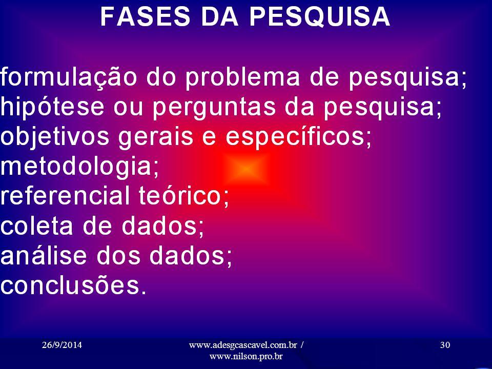26/9/2014www.adesgcascavel.com.br / www.nilson.pro.br 29