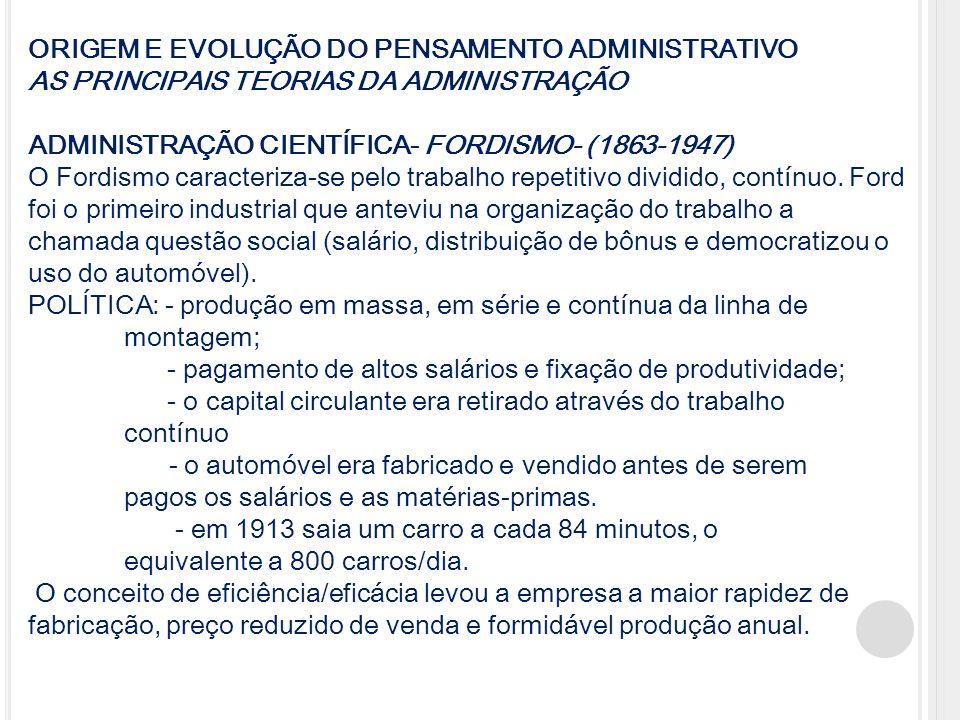 ORIGEM E EVOLUÇÃO DO PENSAMENTO ADMINISTRATIVO AS PRINCIPAIS TEORIAS DA ADMINISTRAÇÃO ADMINISTRAÇÃO CIENTÍFICA- FORDISMO- (1863-1947) O Fordismo carac