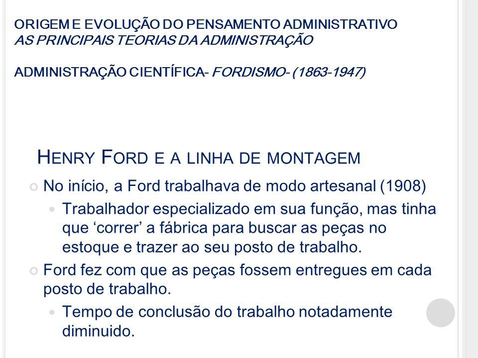 H ENRY F ORD E A LINHA DE MONTAGEM No início, a Ford trabalhava de modo artesanal (1908) Trabalhador especializado em sua função, mas tinha que 'corre