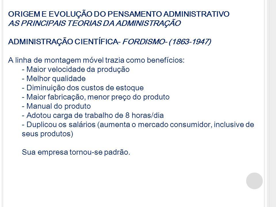 ORIGEM E EVOLUÇÃO DO PENSAMENTO ADMINISTRATIVO AS PRINCIPAIS TEORIAS DA ADMINISTRAÇÃO ADMINISTRAÇÃO CIENTÍFICA- FORDISMO- (1863-1947) A linha de monta