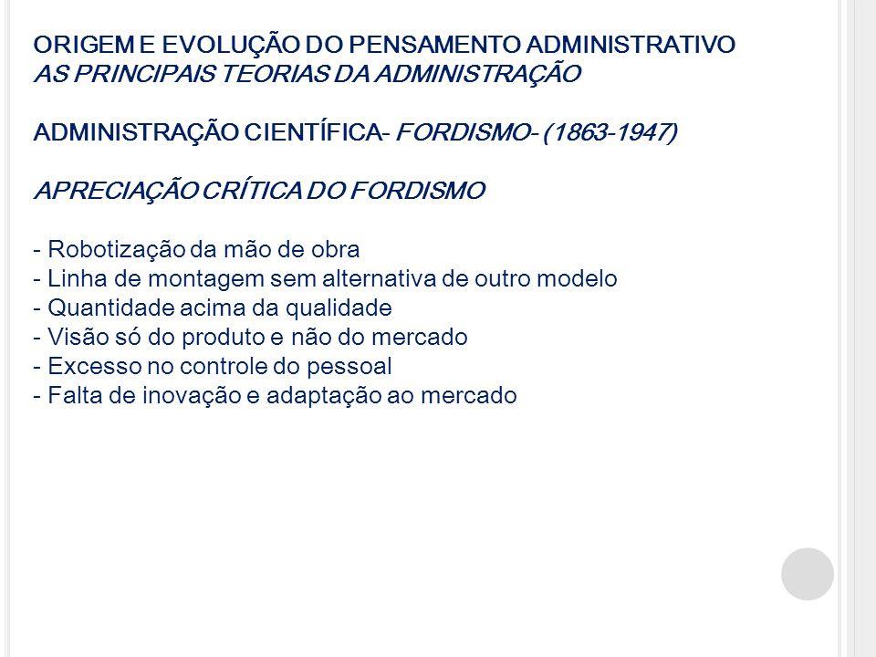 ORIGEM E EVOLUÇÃO DO PENSAMENTO ADMINISTRATIVO AS PRINCIPAIS TEORIAS DA ADMINISTRAÇÃO ADMINISTRAÇÃO CIENTÍFICA- FORDISMO- (1863-1947) APRECIAÇÃO CRÍTI