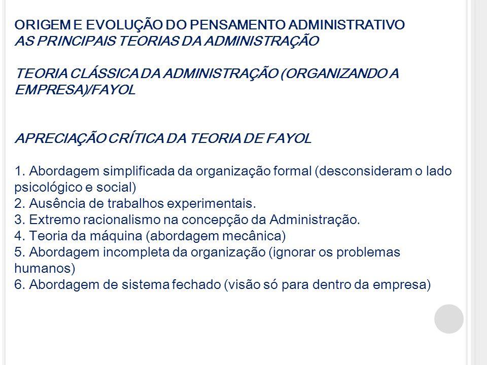 ORIGEM E EVOLUÇÃO DO PENSAMENTO ADMINISTRATIVO AS PRINCIPAIS TEORIAS DA ADMINISTRAÇÃO TEORIA CLÁSSICA DA ADMINISTRAÇÃO (ORGANIZANDO A EMPRESA)/FAYOL A