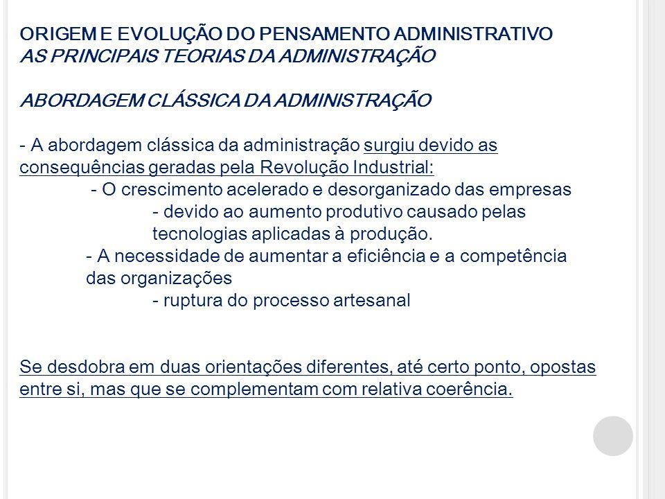 ORIGEM E EVOLUÇÃO DO PENSAMENTO ADMINISTRATIVO AS PRINCIPAIS TEORIAS DA ADMINISTRAÇÃO ABORDAGEM CLÁSSICA DA ADMINISTRAÇÃO - A abordagem clássica da ad