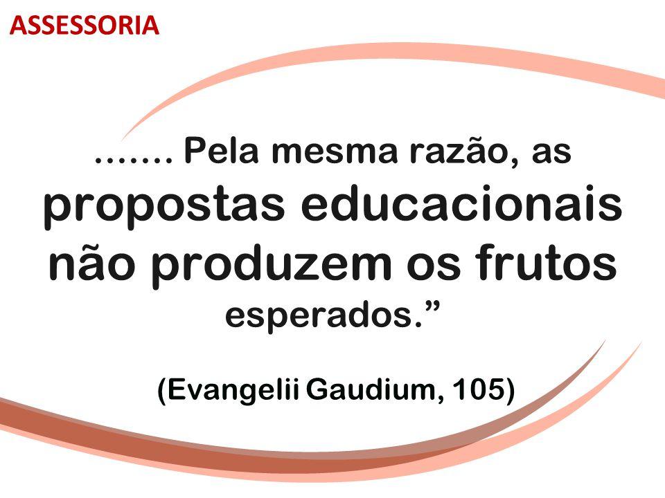 """....... Pela mesma razão, as propostas educacionais não produzem os frutos esperados."""" (Evangelii Gaudium, 105) ASSESSORIA"""