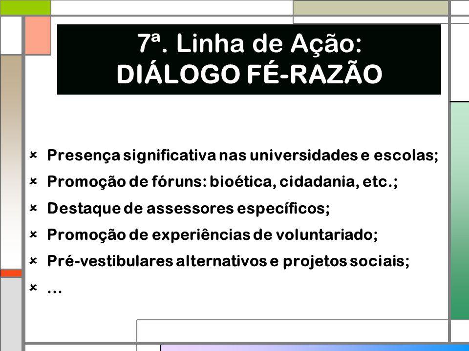  Presença significativa nas universidades e escolas;  Promoção de fóruns: bioética, cidadania, etc.;  Destaque de assessores específicos;  Promoçã